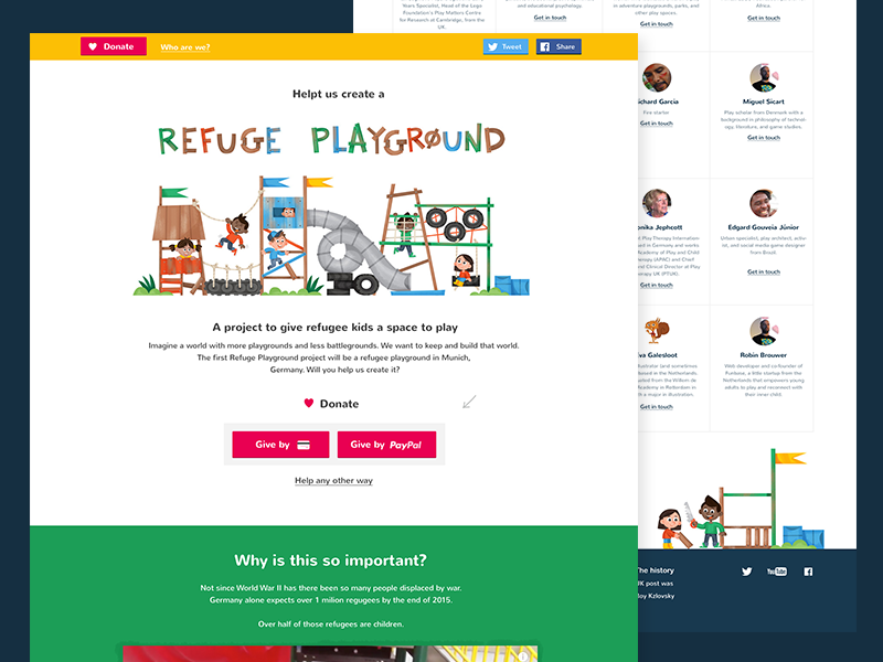 Refuge Playground card mayment pay primary colors colorful play kids support help donate