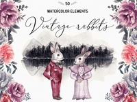 Wedding Watercolor Rabbits