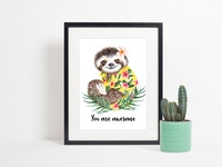 Watercolor Sloth - Greeting card