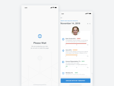 My Skin Fitness - iOS App - Loading & Results Screens stats skin skincare health graph beauty artificial intelligence ux ui sketch product design mobile ui medical ios interaction cosmetic clean app analytics ai