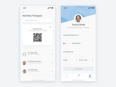 My Skin Fitness - iOS App - Add Therapist & Profile Screens profile skin skincare health graph beauty artificial intelligence ux ui sketch product design mobile ui medical ios interaction cosmetic clean app analytics ai