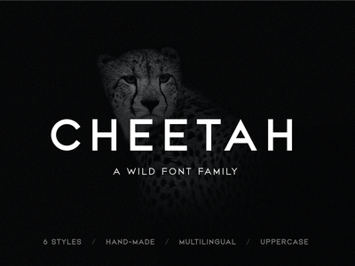 CHEETAH Sans Serif Font Family download hand made uppercase custom type custom font design all caps letters branding logo cheetah wild sans serif strong bold typeface type font family typography font