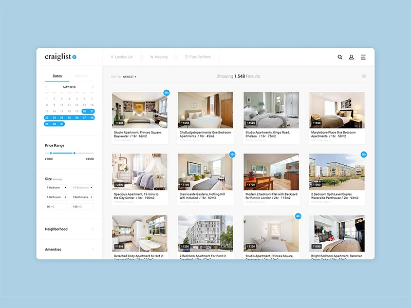 Craiglist Listing Page Re-Design kb simplicity search results tiles rethinking rent real estate listing concept redesign
