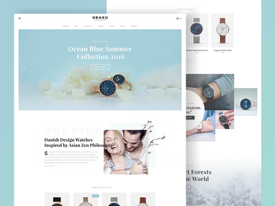 Obaku Website Concept ui ux bk concept redesign order store shop luxury watch denmark website obaku