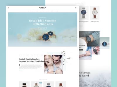 Obaku Website Concept ui ux bk concept redesign order store shop luxury watch denmark website obaku