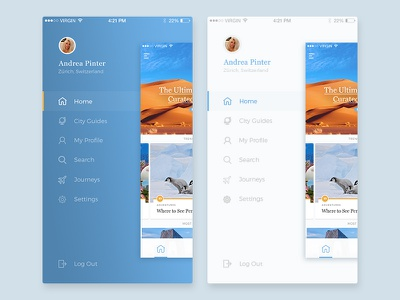 Side menu, dark or light? ui ux bk concept redesign mobile interface feed app interaction ios side menu travel