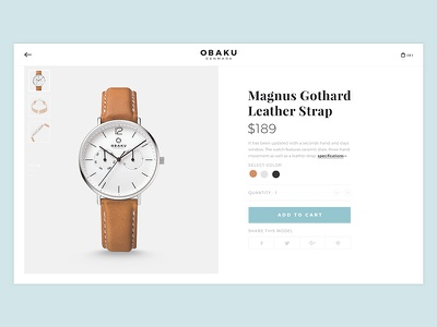 Obaku, Product page ui ux bk concept re-design fashion interface denmark product experience website obaku watch