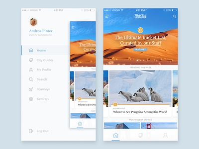 Travel + Leisure – iOS Mobile app concept ui ux bk concept redesign mobile interface feed app interaction ios side menu travel