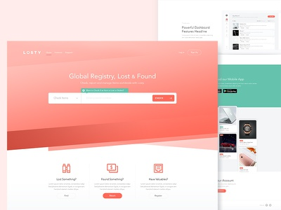 Losty - Global registry for lost and found items ui ux bk interface interaction freelance items landing page game website home new