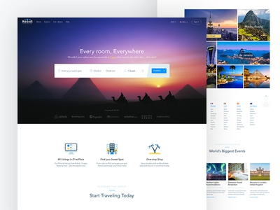 All The Rooms - Home Page Redesign booking place home travel landing page accommodation tenant room real estate bk ux ui