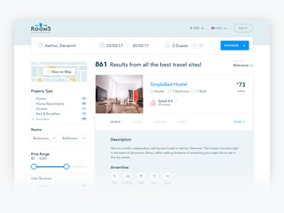 All The Rooms - Search Results Redesign ui ux bk real estate room tenant accommodation search results home place booking
