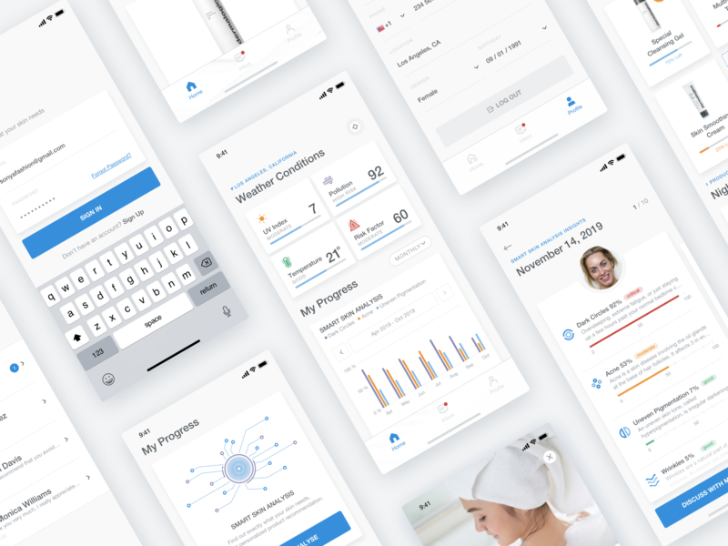 My Skin Fitness - iOS App sketch product design mobile ui mobile app ios ai artificialintelligence product beauty medical health fitness skincare skin ux ui interaction mobile app