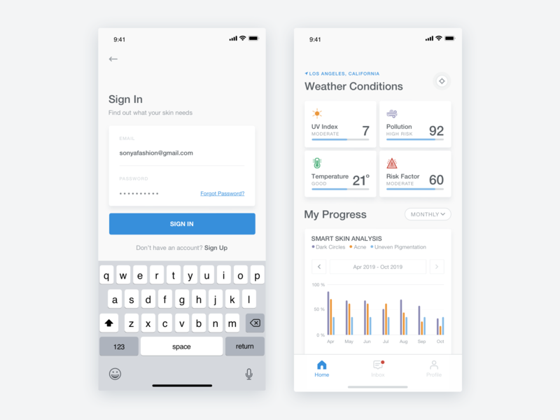 My Skin Fitness - iOS App - Sign In & Home Screens health medical sketch interaction artificial intelligence ai stats analitics graph clean cosmetic skicare skin product design mobile ui ios ux ui mobile app