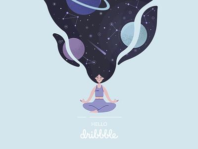 cosmic girl space flat vector design illustration