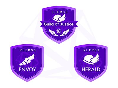 Kleros Guild of Justice badges blockchain badges icon vector branding logo design