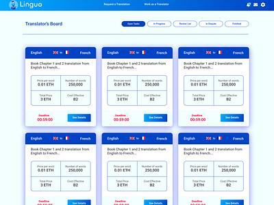 Linguo DApp UI web ethereum dapp user experience ux user interface decentralized app design blockchain ui