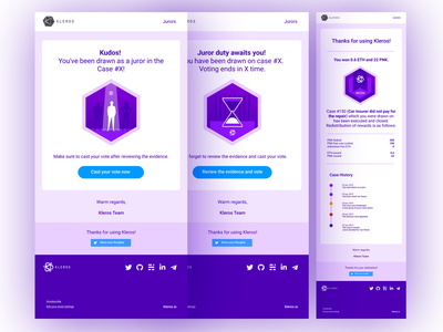 Email Notification UI for Kleros DApps vector icon set email template email design web design icon ux dapp user interface blockchain user experience ui