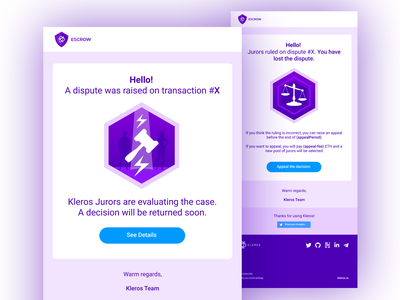 Email Notification UI for Kleros DApps layout email template email design icons pack icon design iconography icon set icon vector logo illustration design blockchain ui