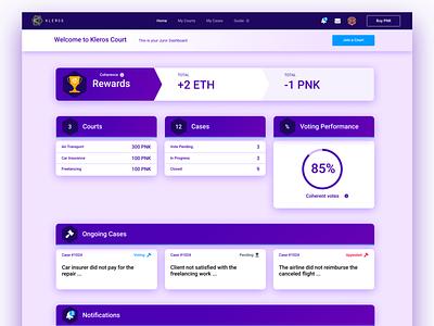 Kleros Court DApp app web ethereum user experience decentralized app design user interface ux ui blockchain
