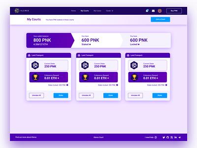 Kleros Court DApp - My Courts page ethereum app dapp ux user experience decentralized app user interface design blockchain ui
