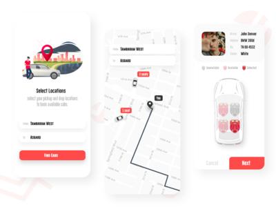 Cab booking app concept