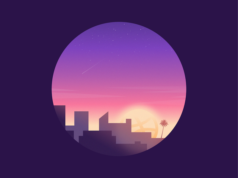 Greetings Dribbble! city sunset skyline