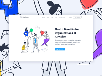 HeyDoctor Employer Landing Page telemedicine ui branding illustration web design product design doctor telehealth landing page