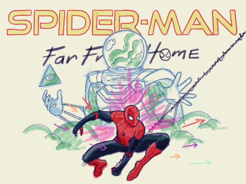 Far From Home sketch hand drawn drawing digital art mysterio procreate ipad design illustration marvel spiderman