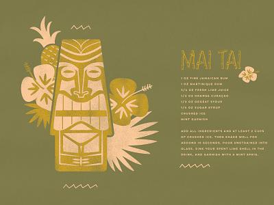 Mai Tai Recipe vector design illustration