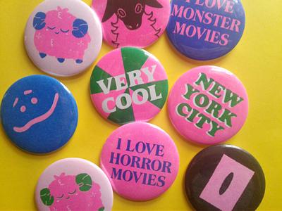 Riso Printed Buttons riso pin pin button product design illustration riso risograph