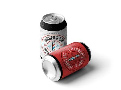 Barber's Hop Beer Packaging candesign label packaging label design print design illustration beer branding beer label beer can brand identity branding logodesign logo packaging design packaging