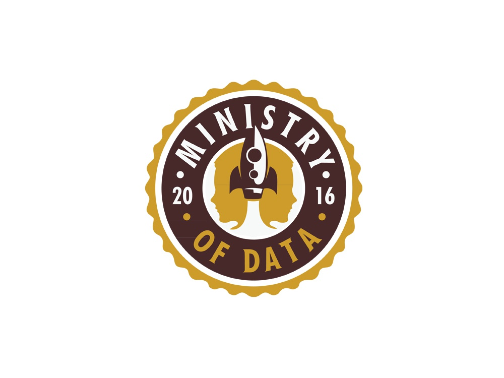 Ministry of data start-up emblem logo logo silhouette people rocket ministry