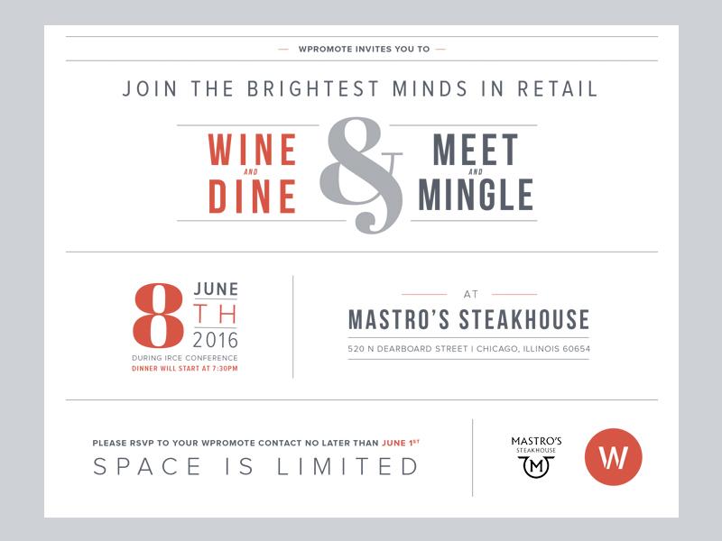 Dinner Invitation print type white space layout invite retailers minimal steak typography clean invitation dinner