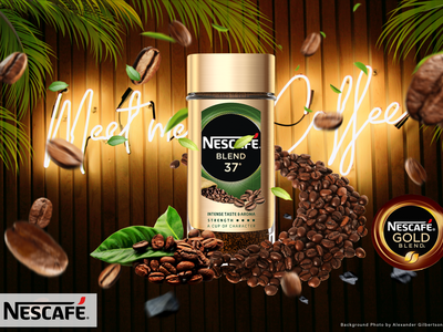Nescafe gold advertizement coffeeshop coffee coffee bean branding illustration manipulation photoshop design advertising