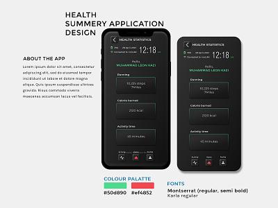 Health app design ui dark theme activity apps app design iphone