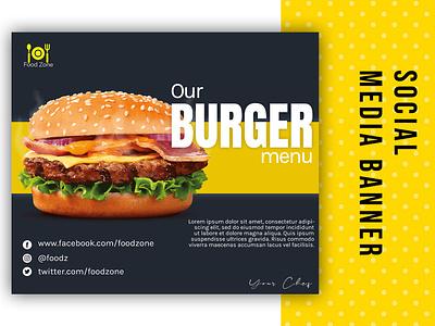 Burger Menu banner banner ad banner design food menu design burger king burger menu burger advertising graphic design ui