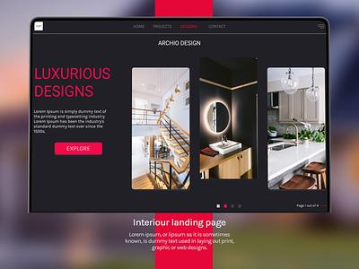 Interiour Landing Page dark theme website typography logo graphic design branding luxury brand ui ux web  design landing page