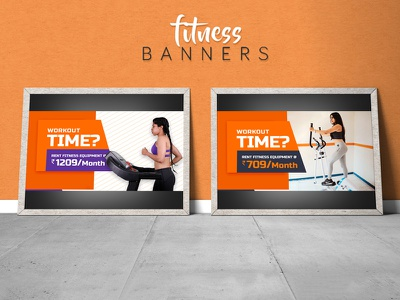 Fitness _Ad Banners home gym creative work treadmill crosstrainer workouts web app ideas fit banners ads fitness