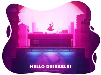 Hello Dribbble desone style debute buiding artist city branding minimal web typography icon flat vector logo design illustration