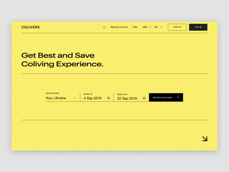 Colivers - Main yellow product landing concept clean typography website creative minimal web ux ui design