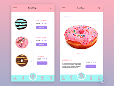 Donut Shop purple pink sweets food and drink food app food app design app 2019 gradient creative ux ui design