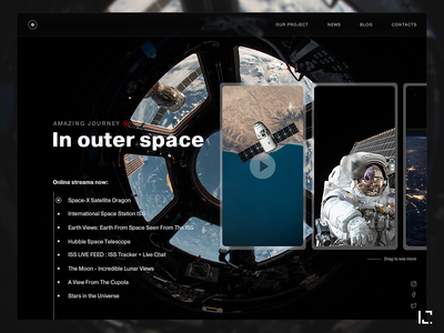Spase streams website black dark typography video nasa spase 2019 creative website web ux ui design