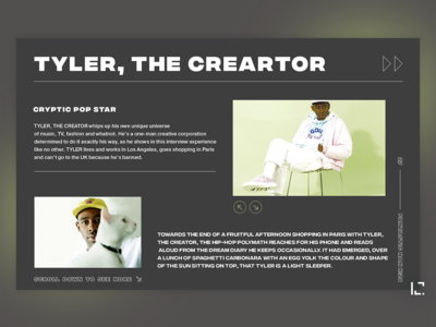 Concept of web page Fantastic Man (Tyler, the Creator) music black clean 2019 typography creative minimal website ux web ui design