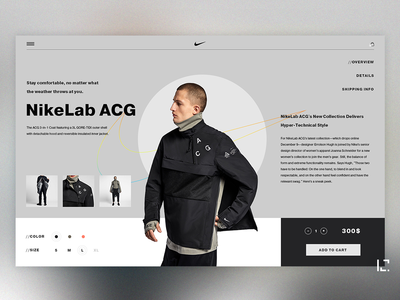 Nike Lab ACG concept black concept e-commerce uiux fashion ux clean typography creative minimal website ui web design