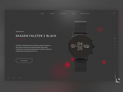 Skagen Smartwatch red and black red watch stylish uiux black 2019 clean typography creative minimal ux website web ui design