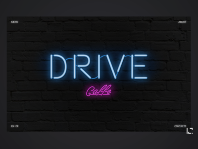 Neon Lights uiux drive cafe minimal pink blue black techno noir neon light neon typography creative web ui design