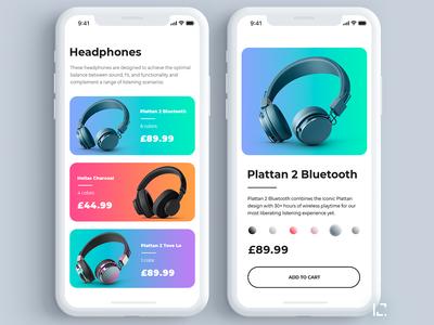 Headphones shop app design concept