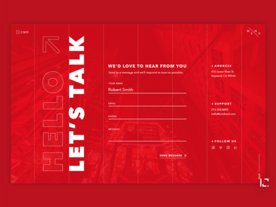 Contact Form form design contact us red form contact page uiux clean 2019 typography website creative minimal web ui ux design