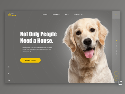 Animal Shelter main page dark webdesign dogs animals 2019 web design concept clean gradient minimal uiux typography website web ui ux design