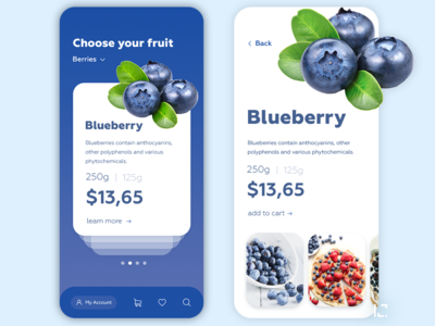 Blueberry app design mobile ui mobile app clean uiux 2019 creative ux ui design